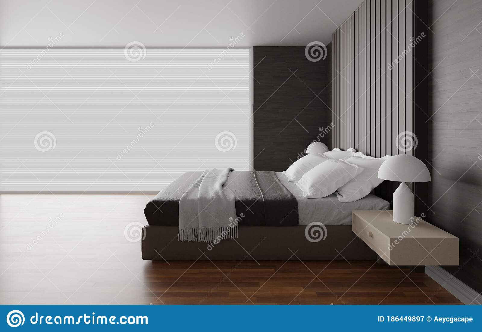 Bedroom Interior Design The Room Have Bed And Large Window Minimalist And Modern Style 3d Render Stock Illustration Illustration Of Room Hotel 186449897