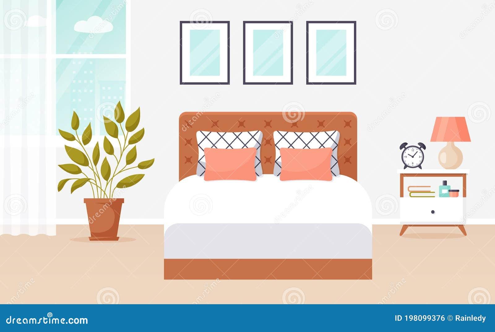 Bedroom Interior Design Vector Banner Stock Vector Illustration Of Clock Guest 198099376