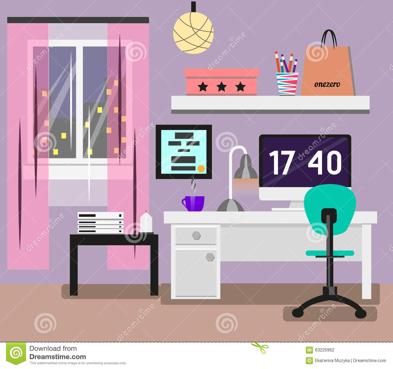 Image of: Bedroom Interior Flat Design Room In Pink Colors With Window Computer Desk Chair Lamp Modern Illustration Stock Illustration Illustration Of Accessories Design 63225962