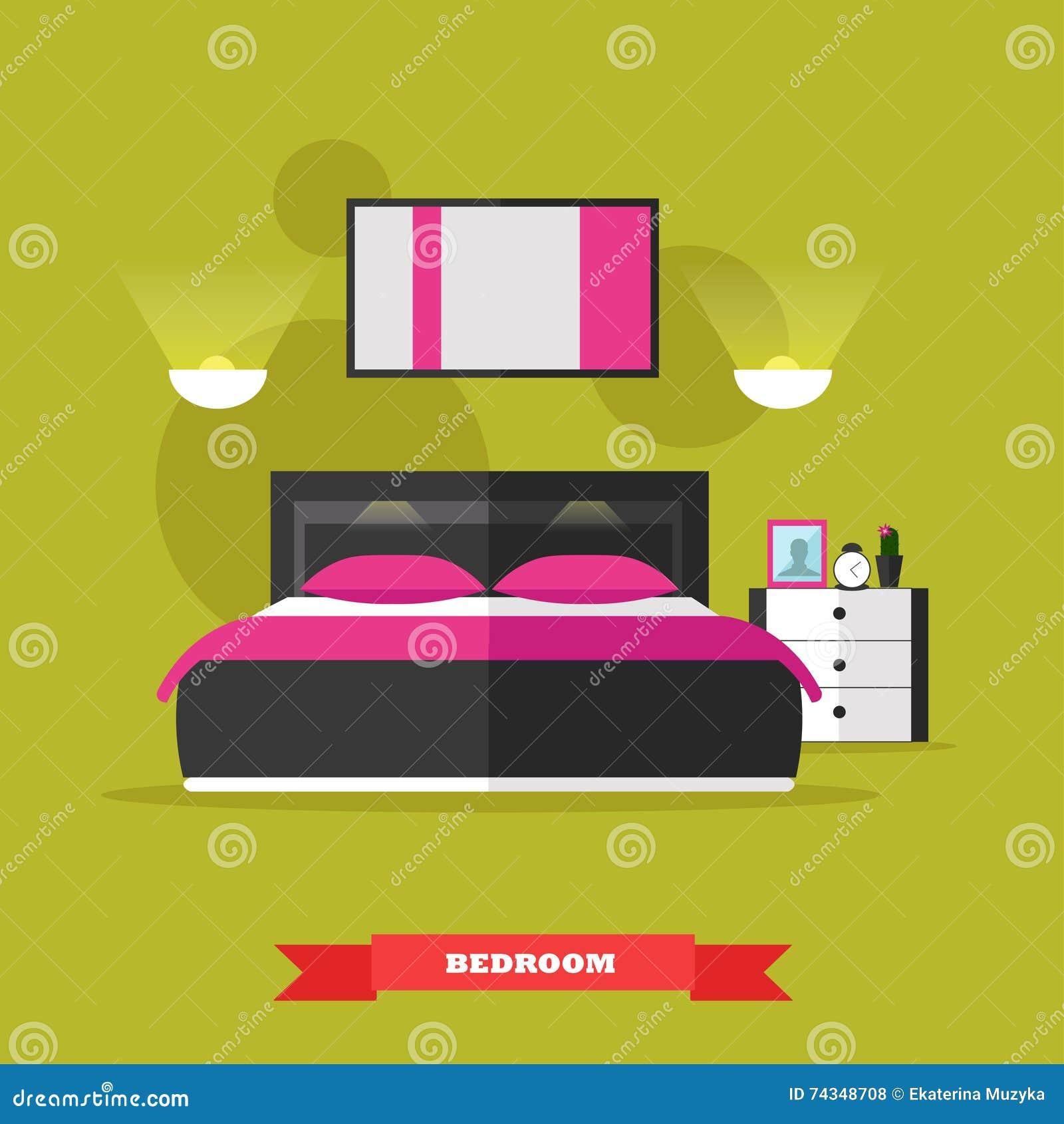 Bedroom Interior Flat Vector Illustration Vector