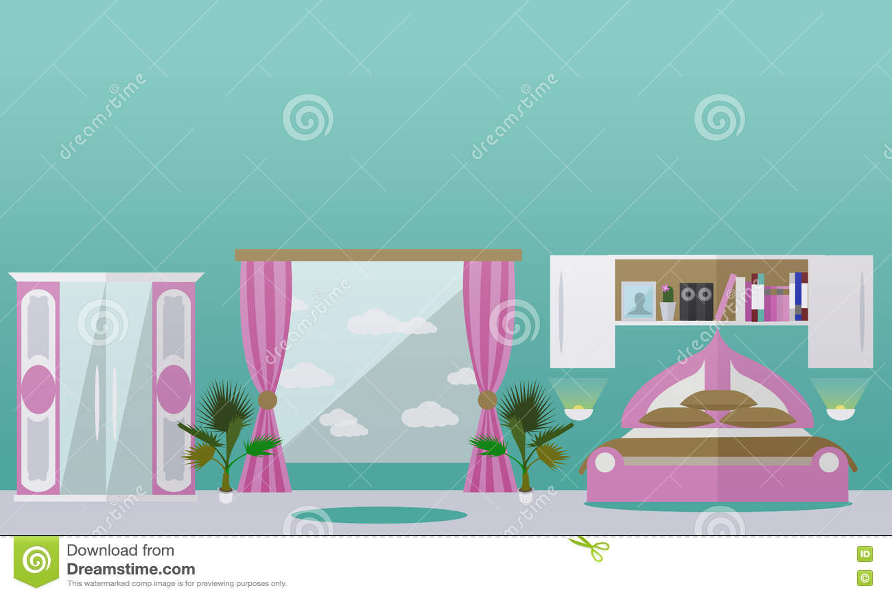 Bedroom interior in flat style vector illustration stock for Room design vector