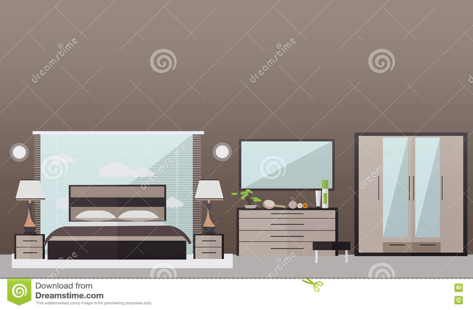 Bedroom Interior In Flat Style Vector Illustration Stock