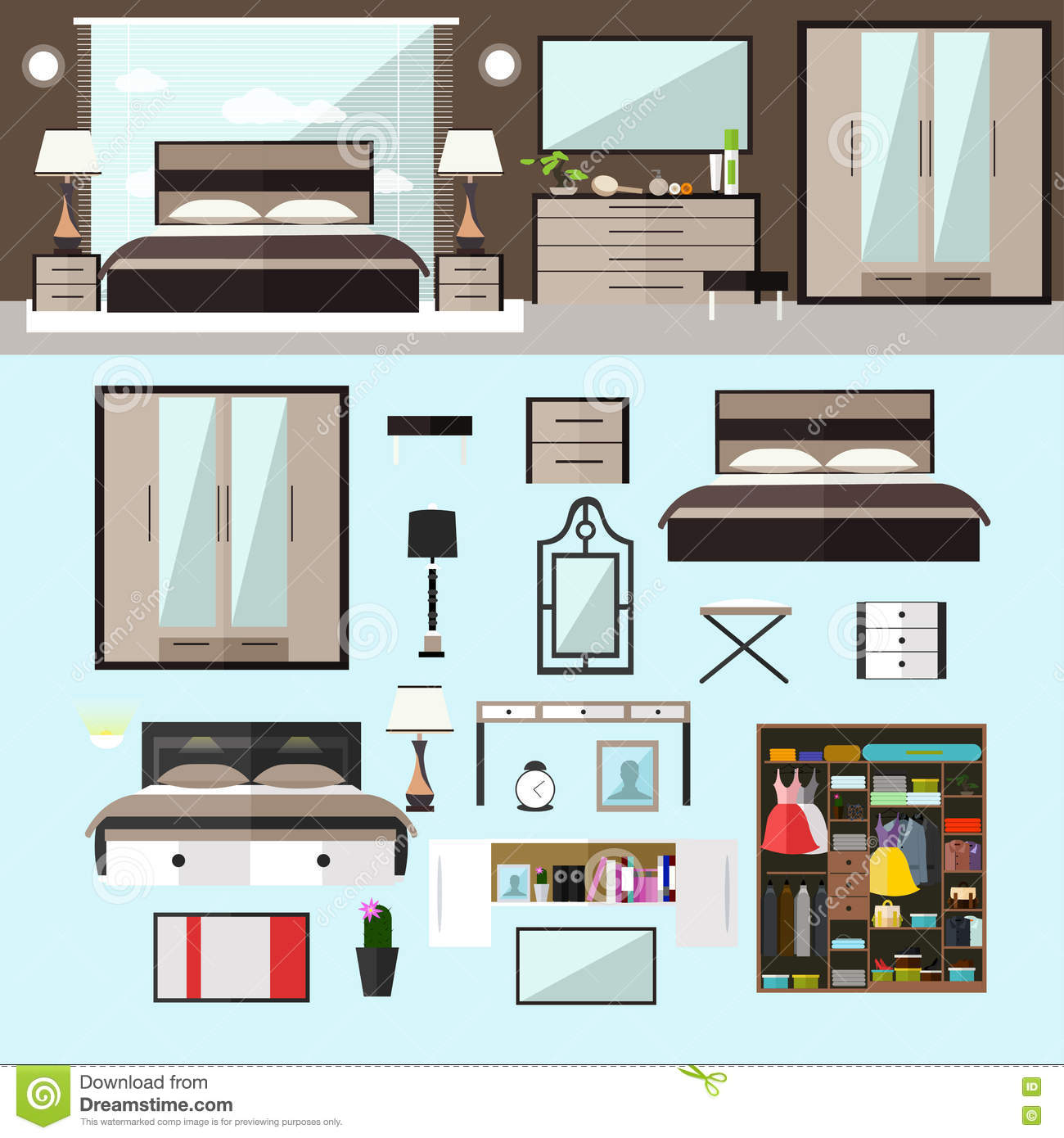 home design elements bedroom interior in flat style vector illustration house 12115