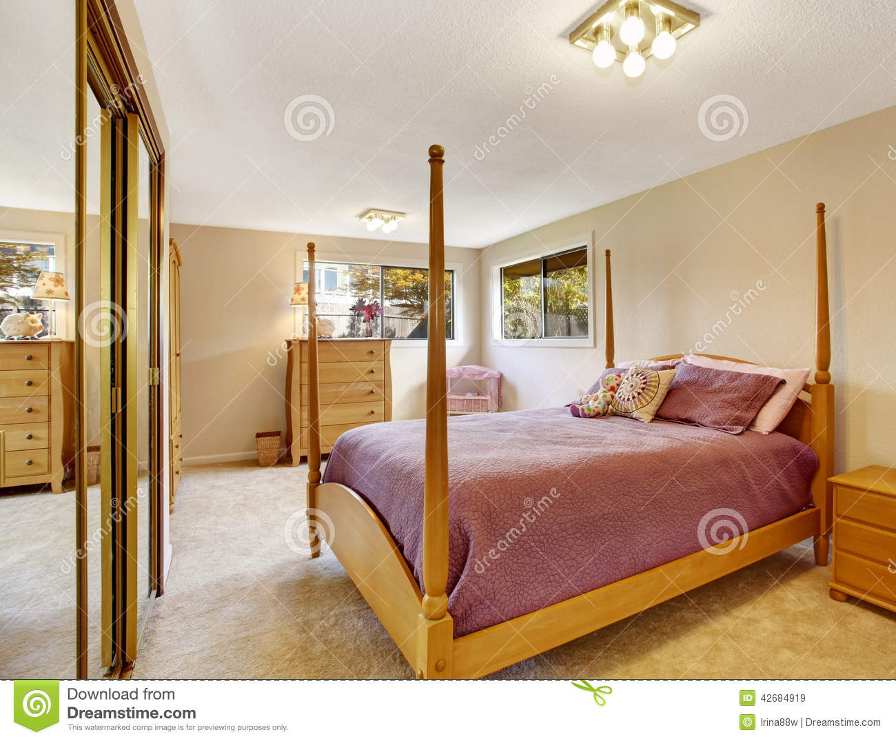 Bedroom Interior With High Pole Bed