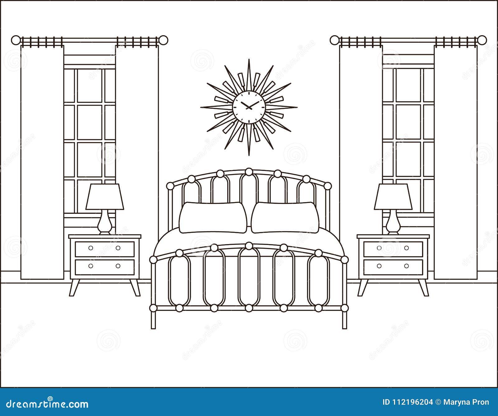 Bedroom Interior Hotel Room In Retro Design Vector Illustration