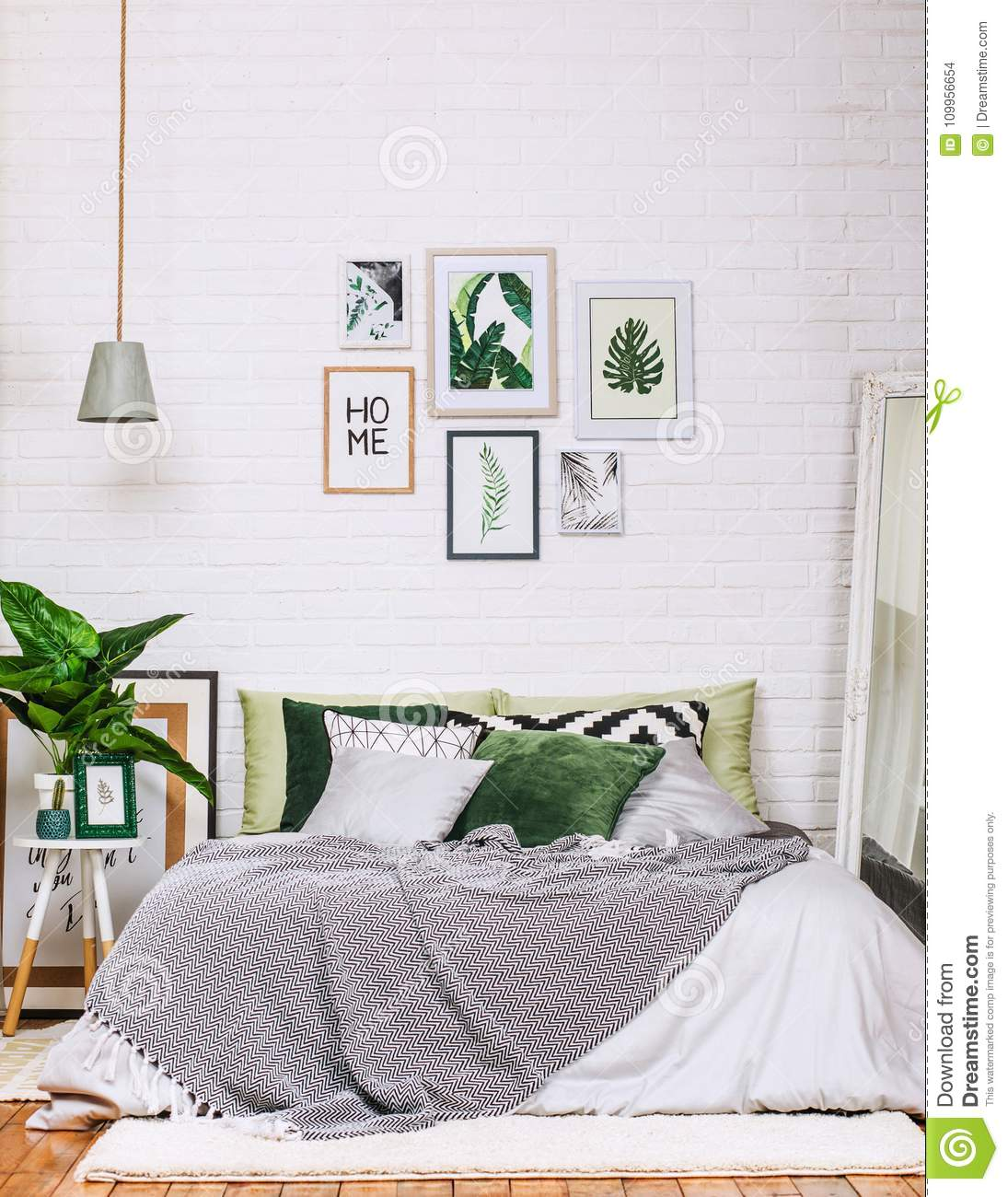 Bedroom Interior House Style Pattern White Green Stock Photo ...