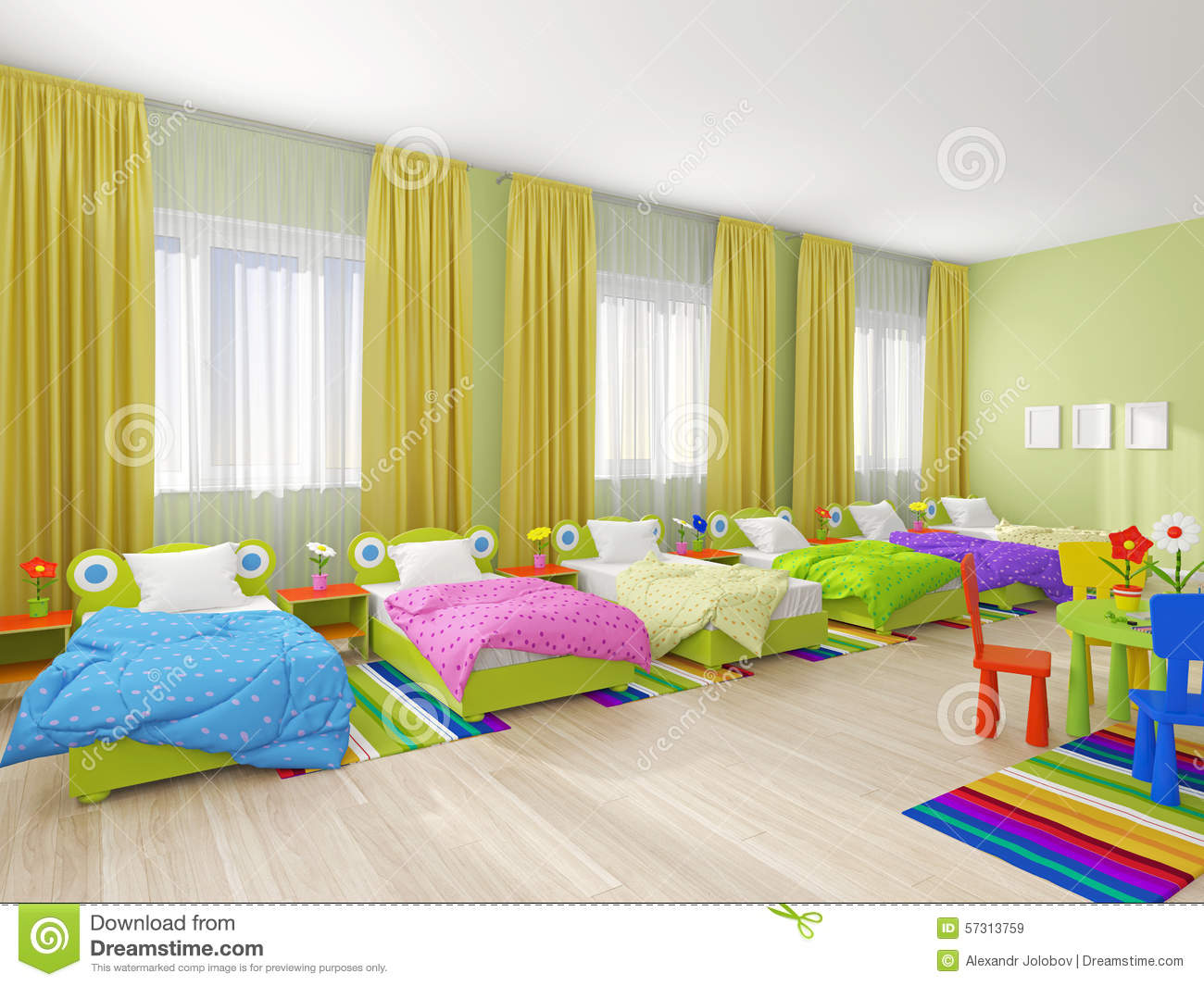 Bedroom Interior In Kindergarten Stock Photo - Image: 57313759