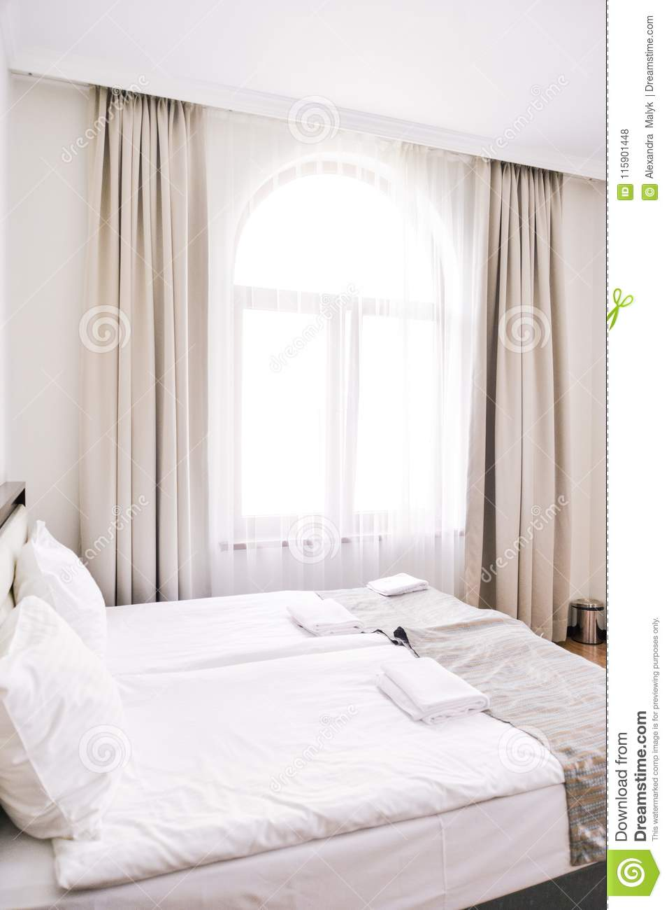 Bedroom Interior In Light And Sand Tones Bed And Window Stock Photo Image Of Monochromatic Hardwood 115901448