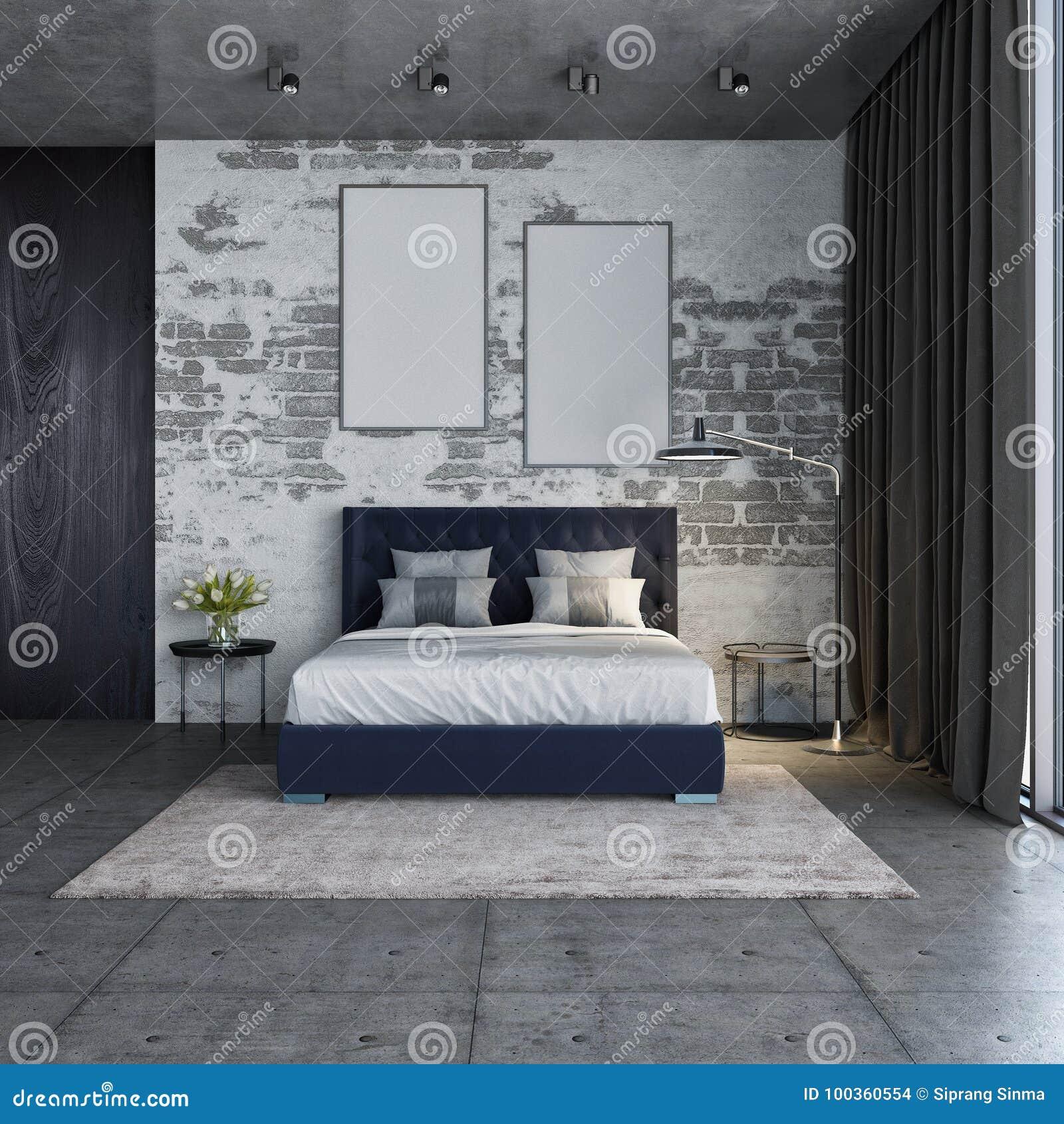 Bedroom Interior ,loft Style And Modern Bedroom,3D