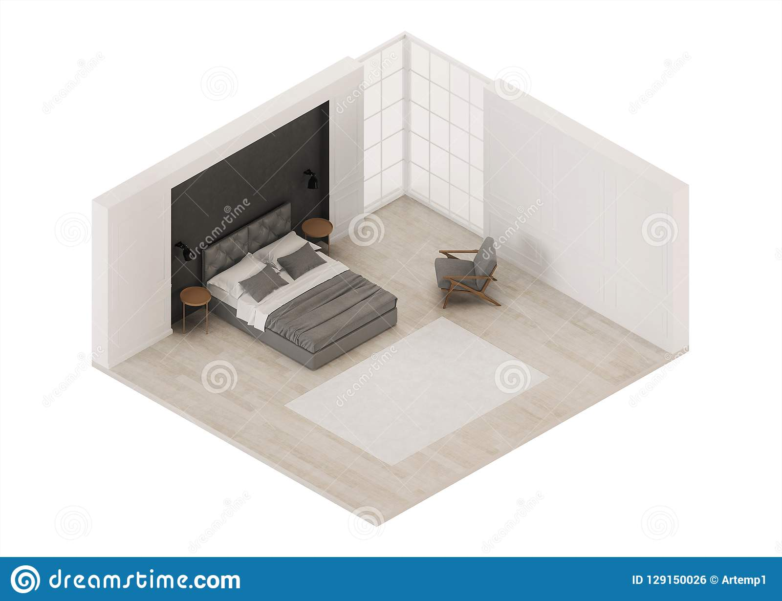 Bedroom Interior Modern Classic Orthogonal Projection View From