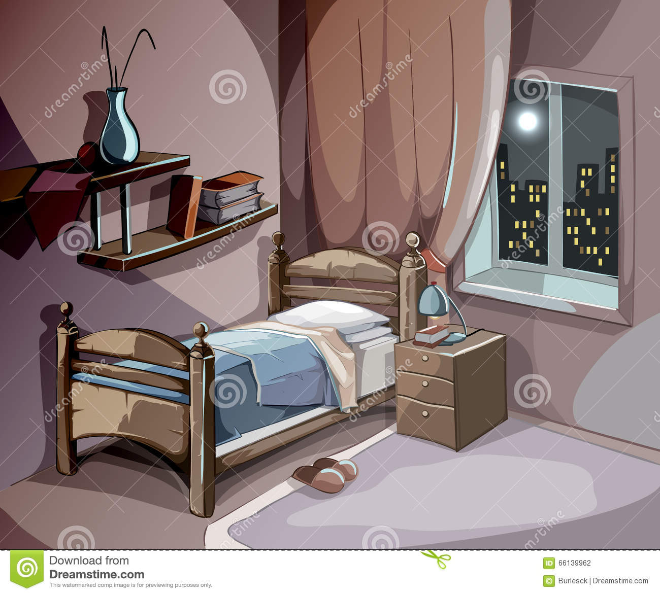 Bedroom Interior At Night In Cartoon Style. Vector
