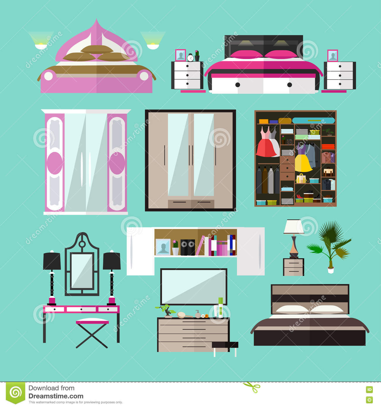 home design elements bedroom interior objects in flat style vector 12115