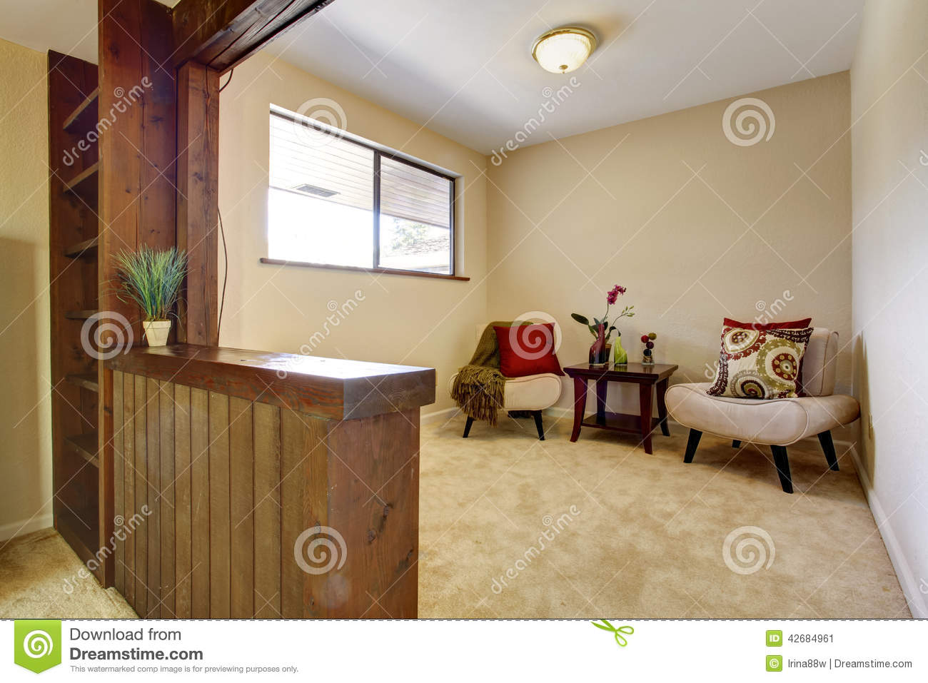 Bedroom interior with sitting area stock photo image for Small area furniture