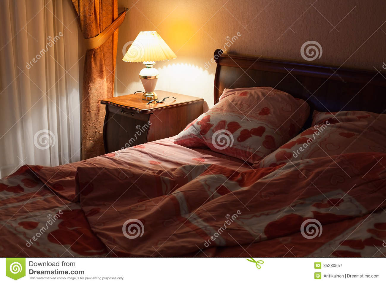 Bedroom at night time - Bedroom Interior With Table Lamp At Night Time