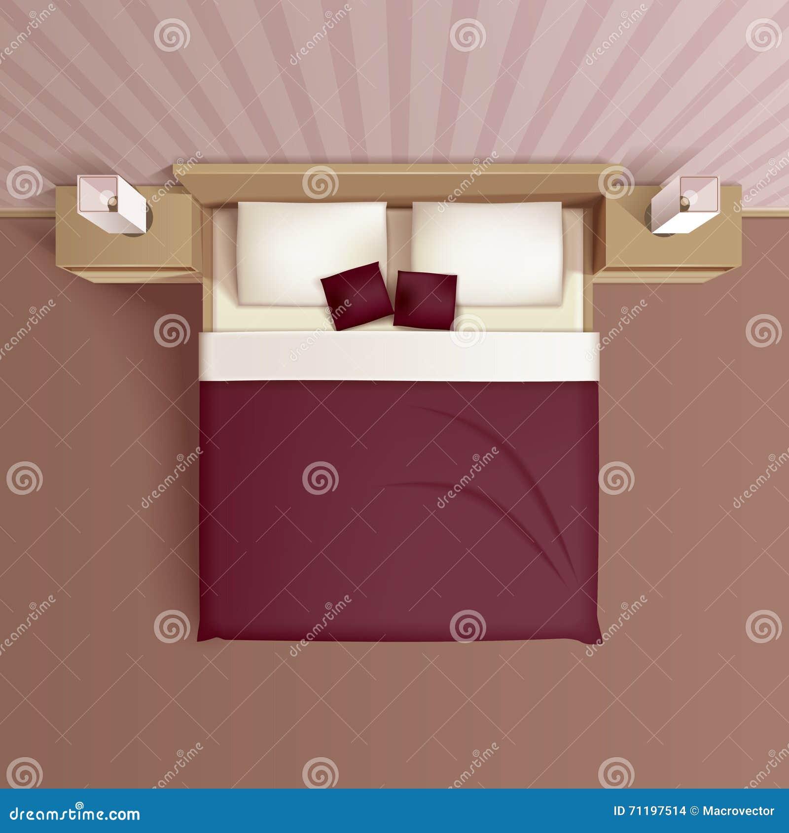 Bedroom Interior Top View Realistic Image Stock Vector