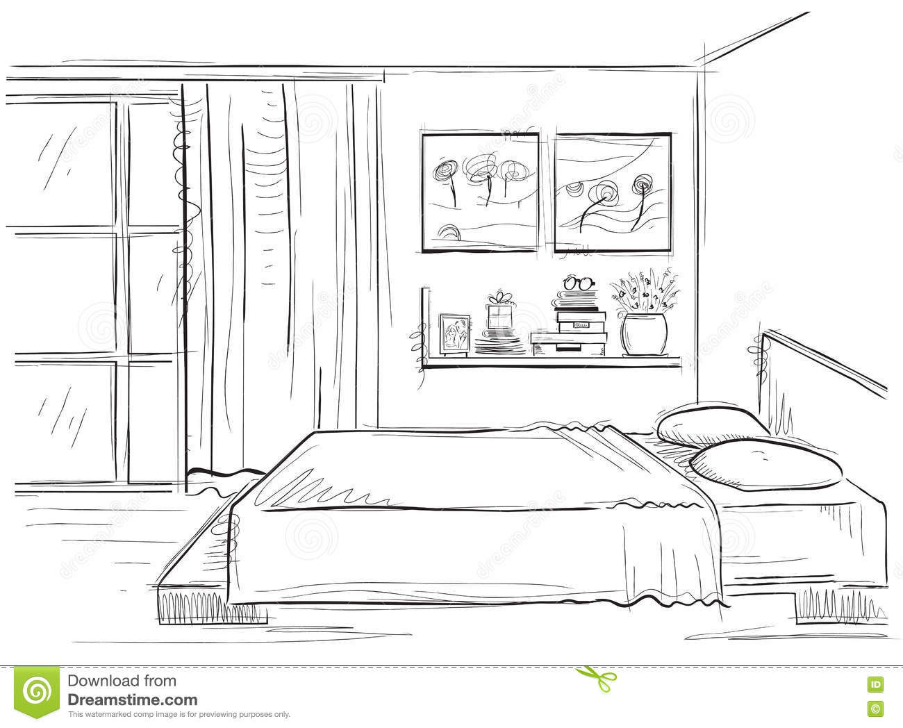 Bedroom interior vector hand drawing modern home for Dessin architecte interieur