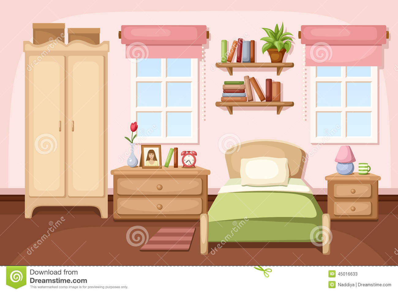 Cartoon kitchen with cabinets and window vector art illustration - Vector Illustration Of A Bedroom Interior With A Bed Nightstands A