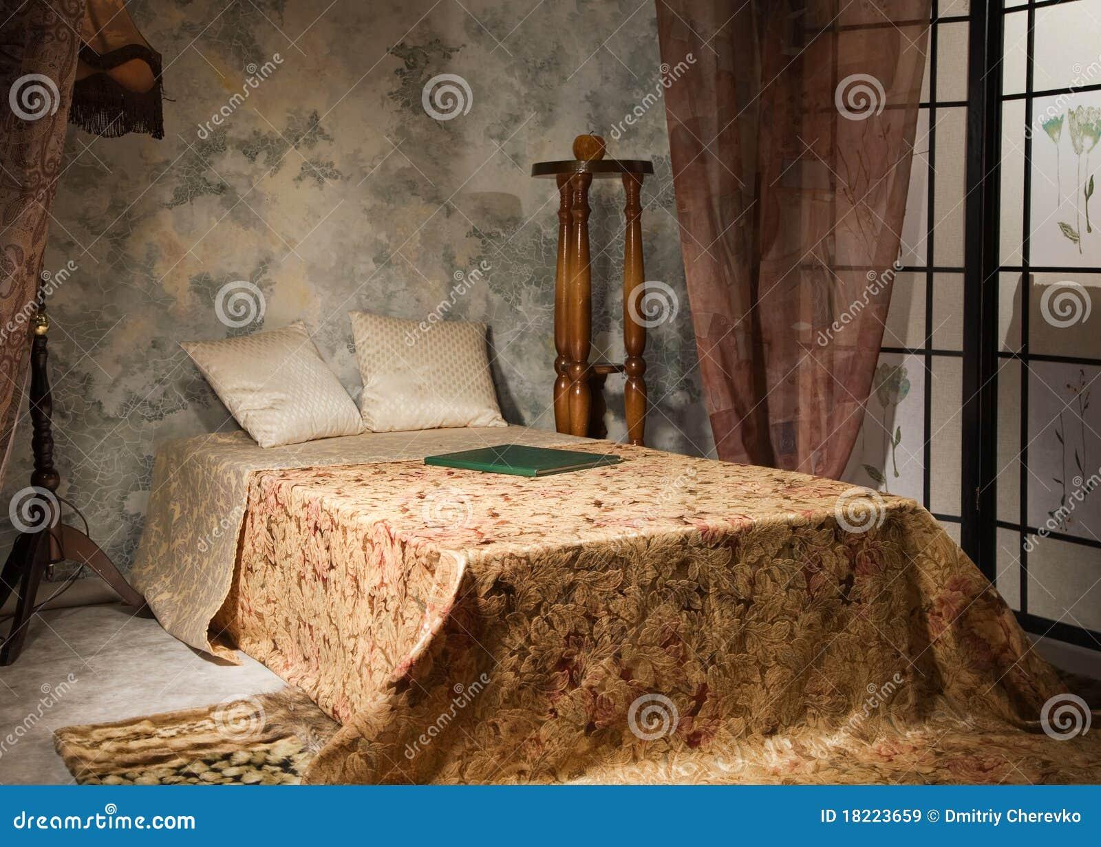bedroom interior in the vintage style stock image image. Black Bedroom Furniture Sets. Home Design Ideas