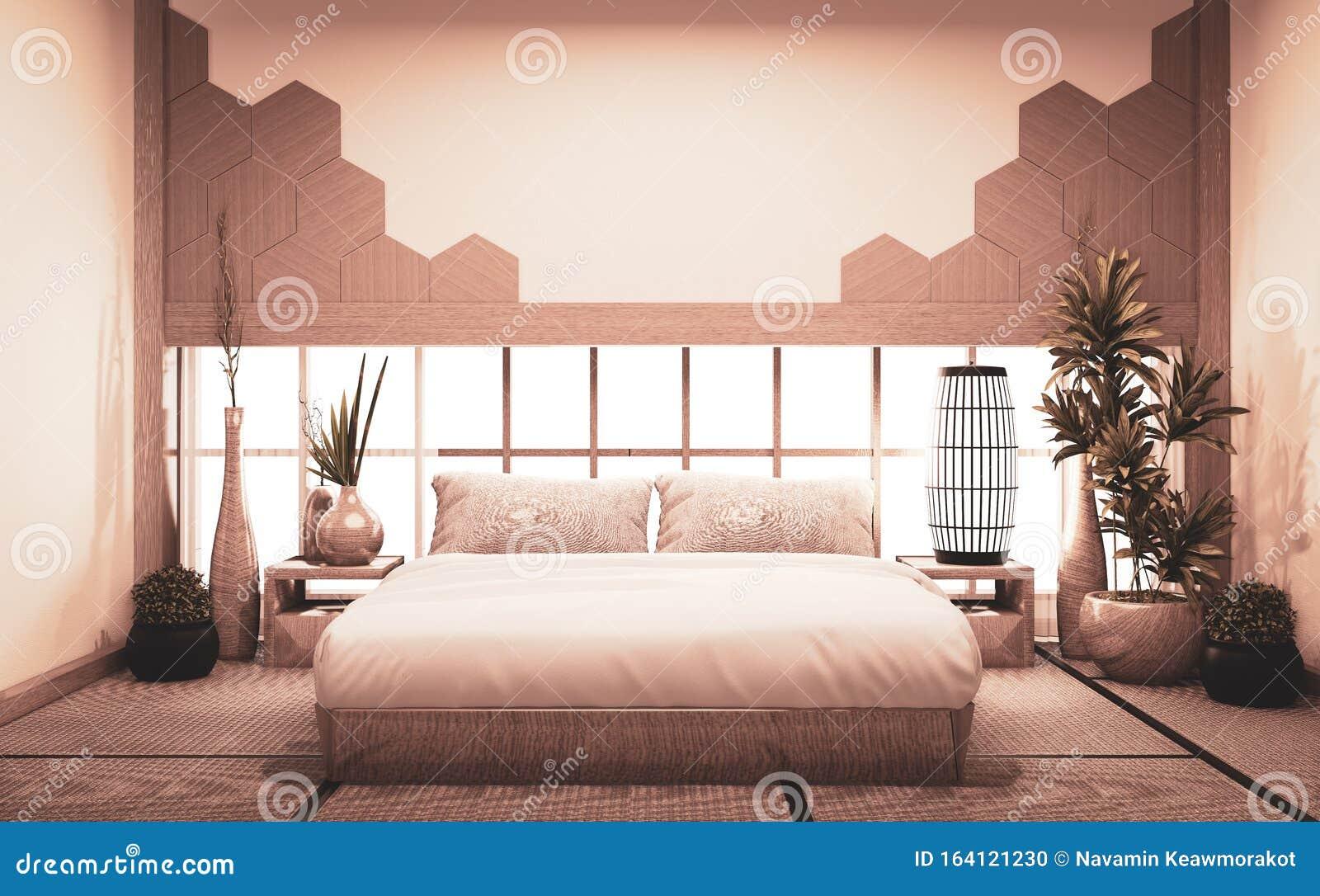 bedroom japan style wall design hexagon tiles wooden bed decoration tatami mat d rendering 164121230