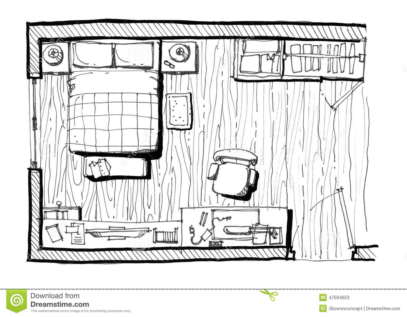 Bedroom layout illustration stock illustration image for Bedroom designs sketch
