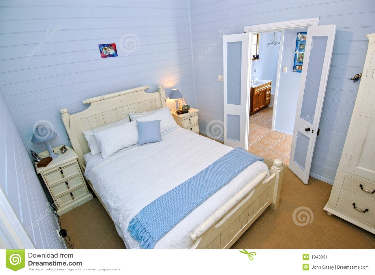 bedroom with light blue walls stock image image of decoration house 1948031. Black Bedroom Furniture Sets. Home Design Ideas