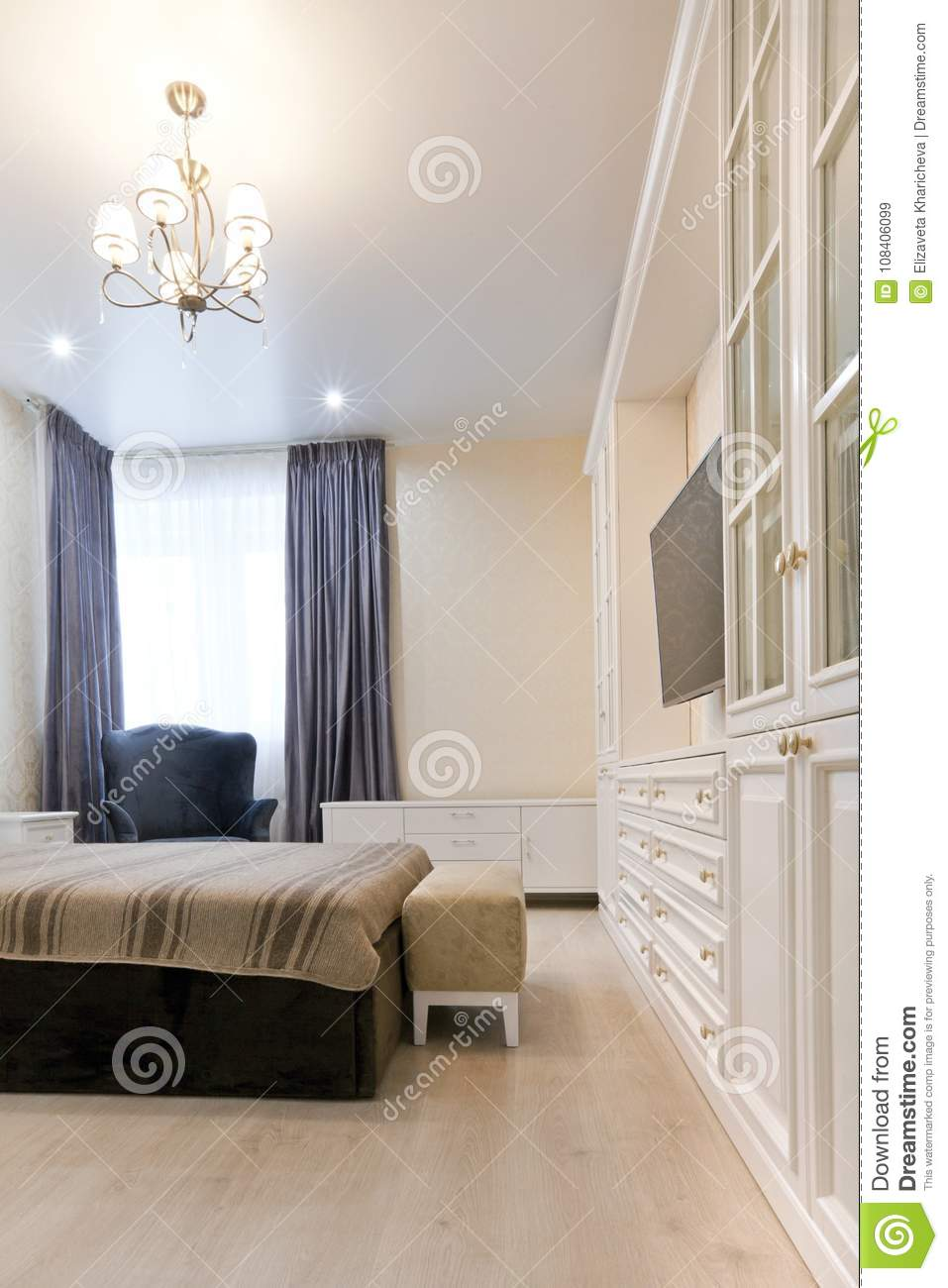 Download Bedroom In Light Colors With Dark Bed And Blue Curtains Stock  Image   Image Of
