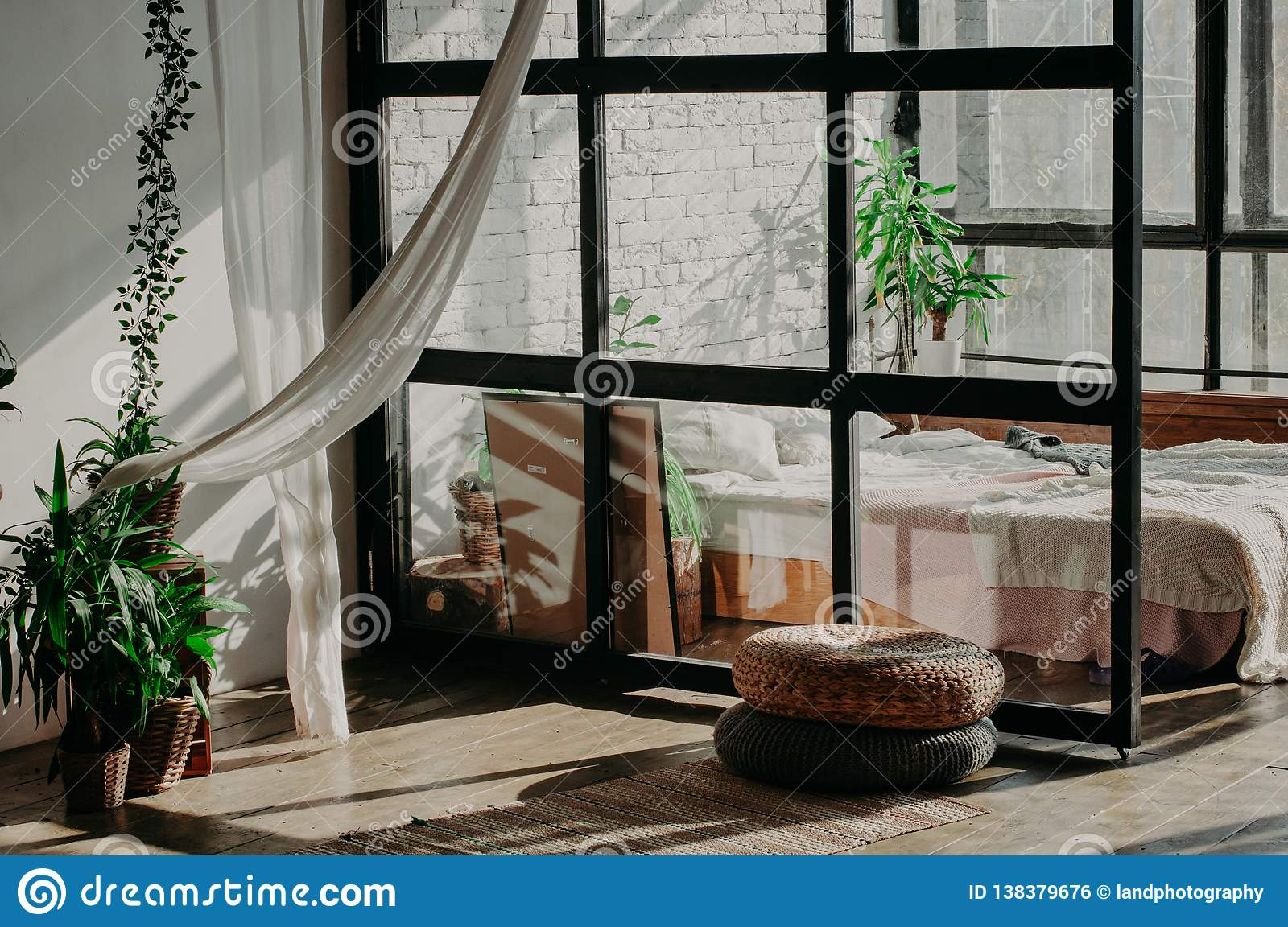 Bedroom Loft Interior Bed Pillows Green Plant And Wall With White Bricks Stock Photo Image Of Decoration Modern 138379676