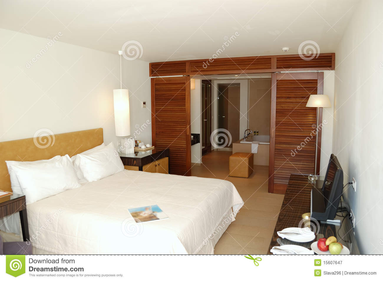 The bedroom in luxury apartment of modern hotel royalty free stock