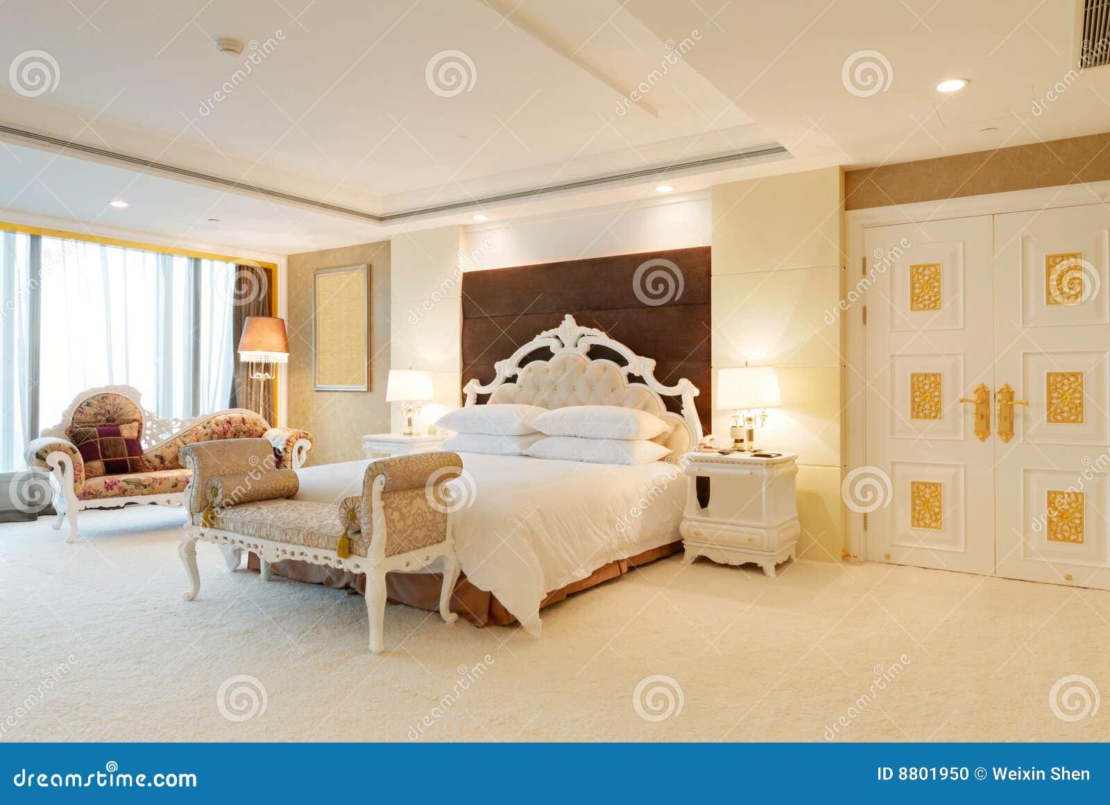 Bedroom of luxury suite in hotel