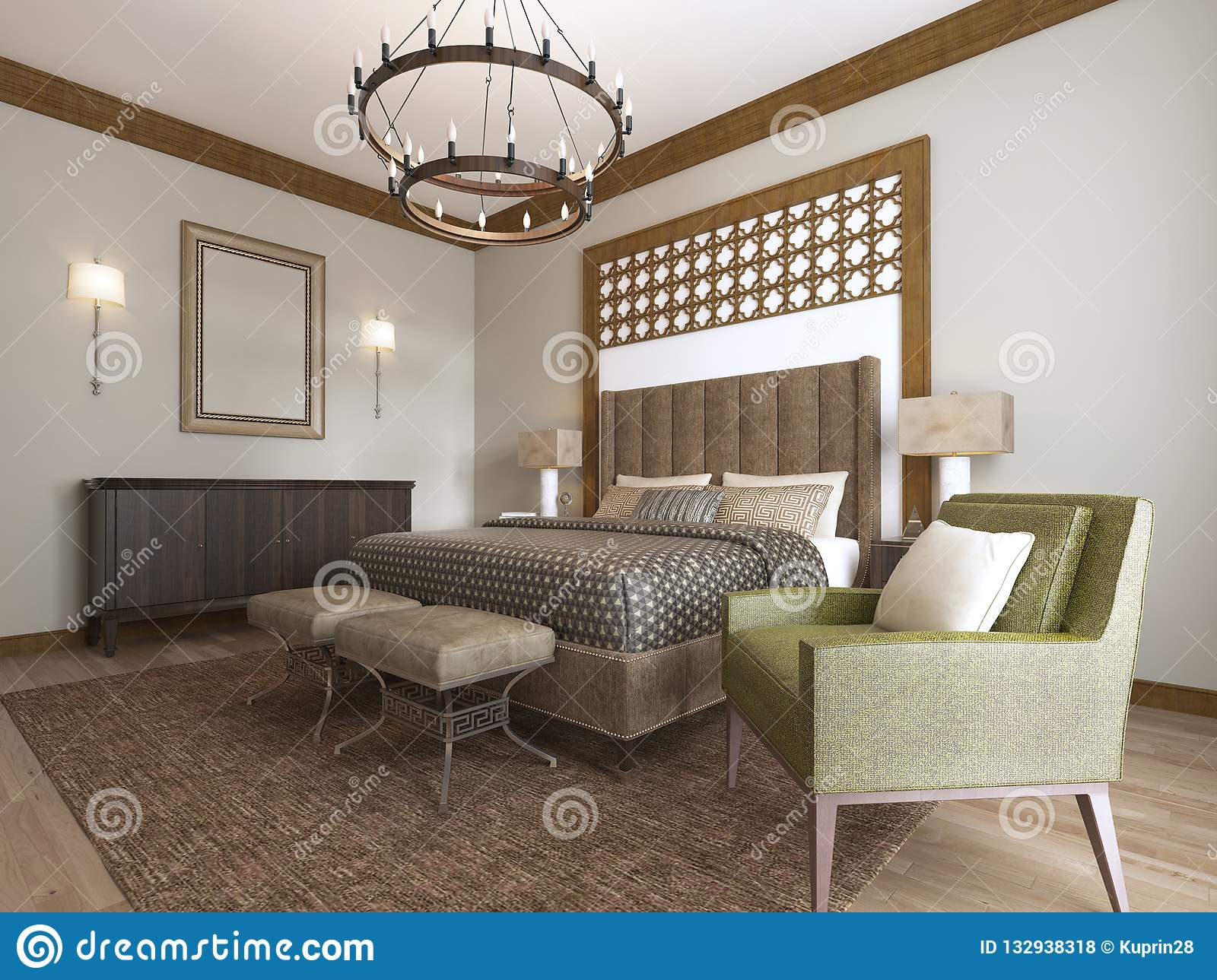 Swell Bedroom In A Middle Eastern Arabic Style Stock Illustration Home Interior And Landscaping Elinuenasavecom