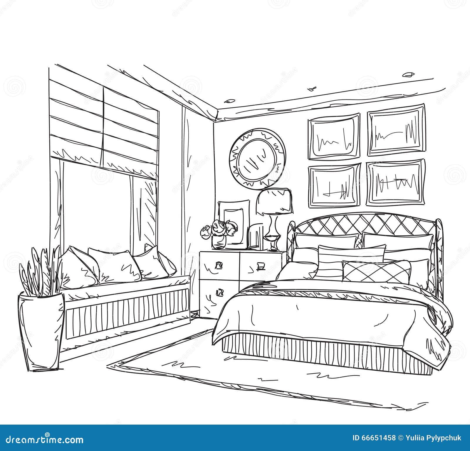 Interior Design Line Art Vector : Bedroom modern interior drawing stock vector