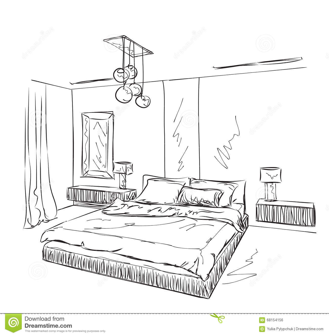 Bedroom Modern Interior Drawing Stock Vector