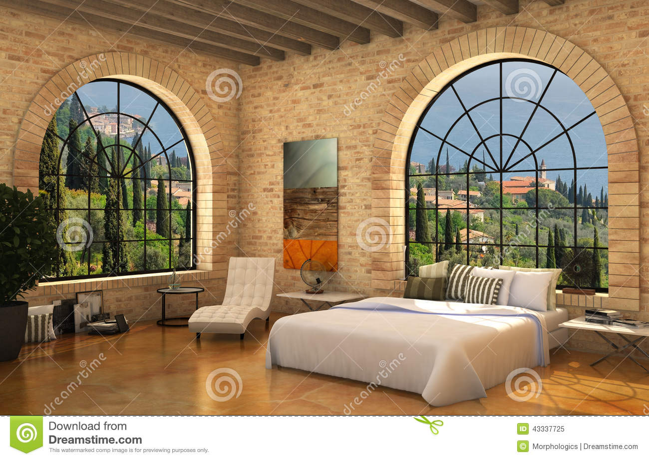 Mediterranean bedroom wiyh big round windows stock photo   image ...