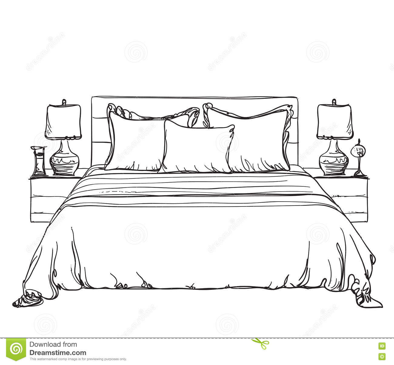 Bedroom modern interior sketch stock vector image 75852079 for Bedroom designs sketch