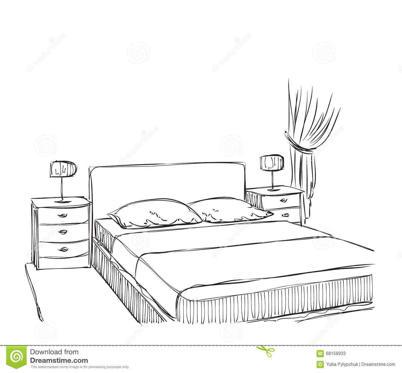 Bedroom modern interior vector drawing sketch cartoon for Bedroom designs sketch