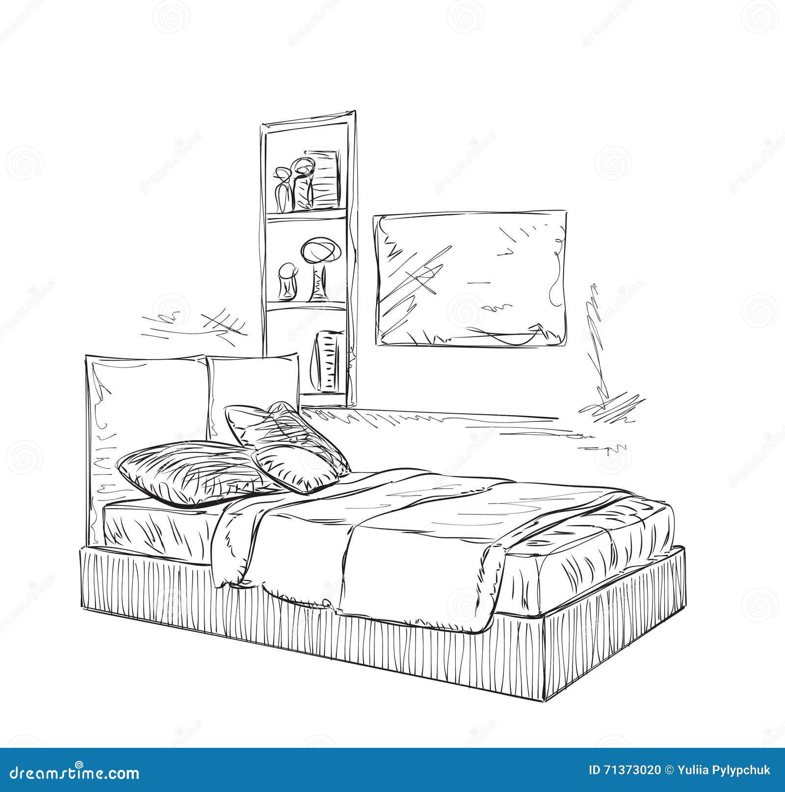 Bedroom Modern Interior Sketch Stock Vector Illustration