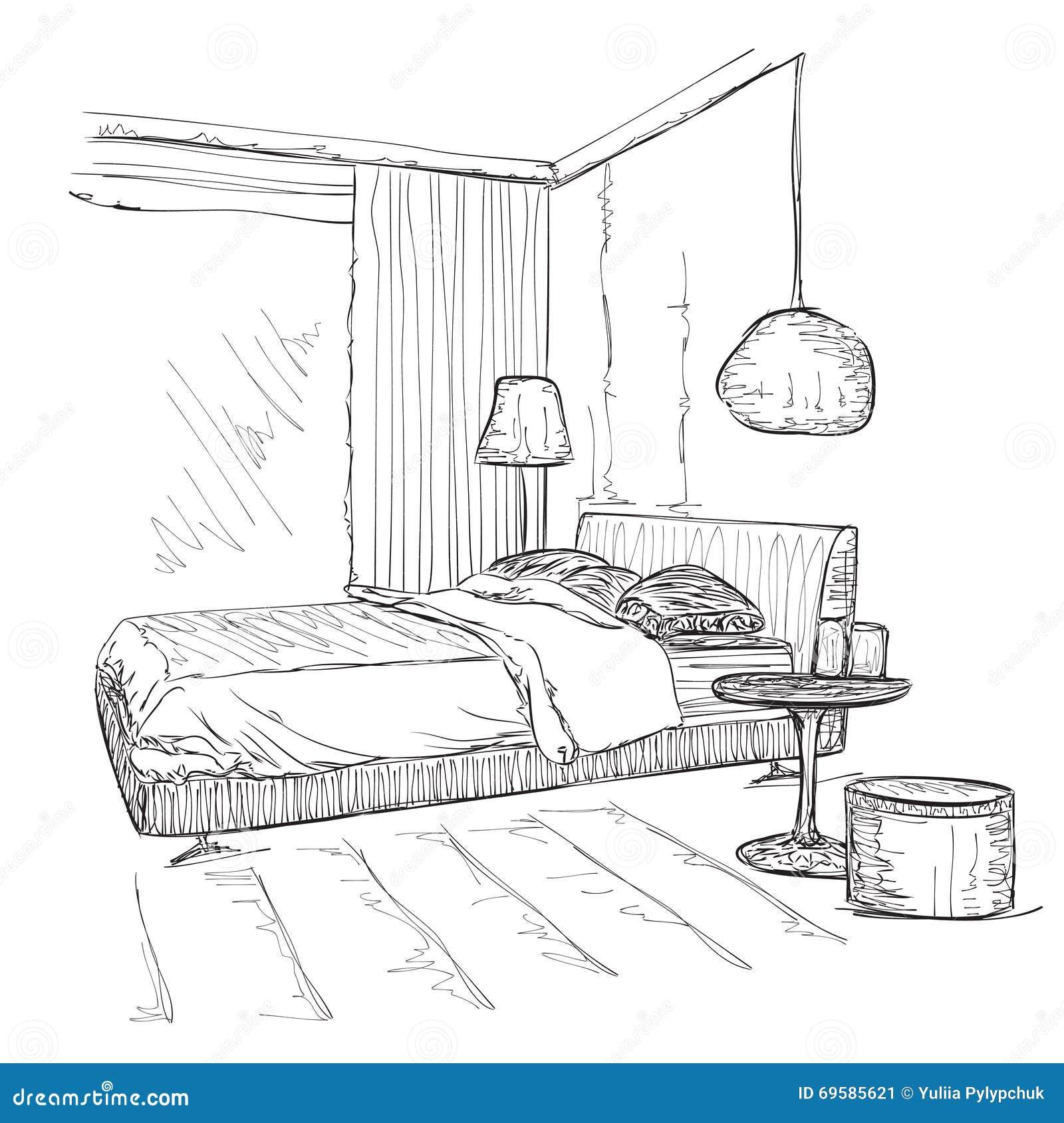 Bedroom modern interior vector drawing sketch stock vector for Dormitorio para colorear
