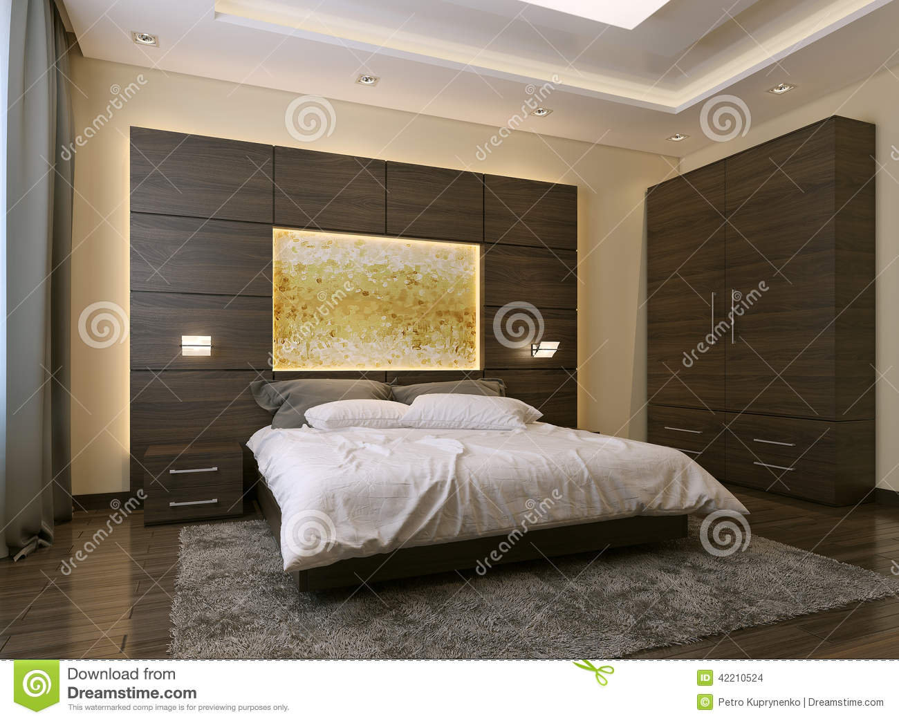 Bedroom modern style stock illustration image 42210524 - Toile chambre adulte ...