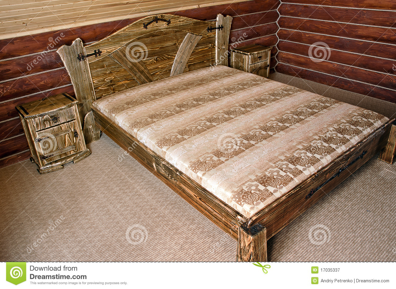 Bedroom with old style wooden bed royalty free stock