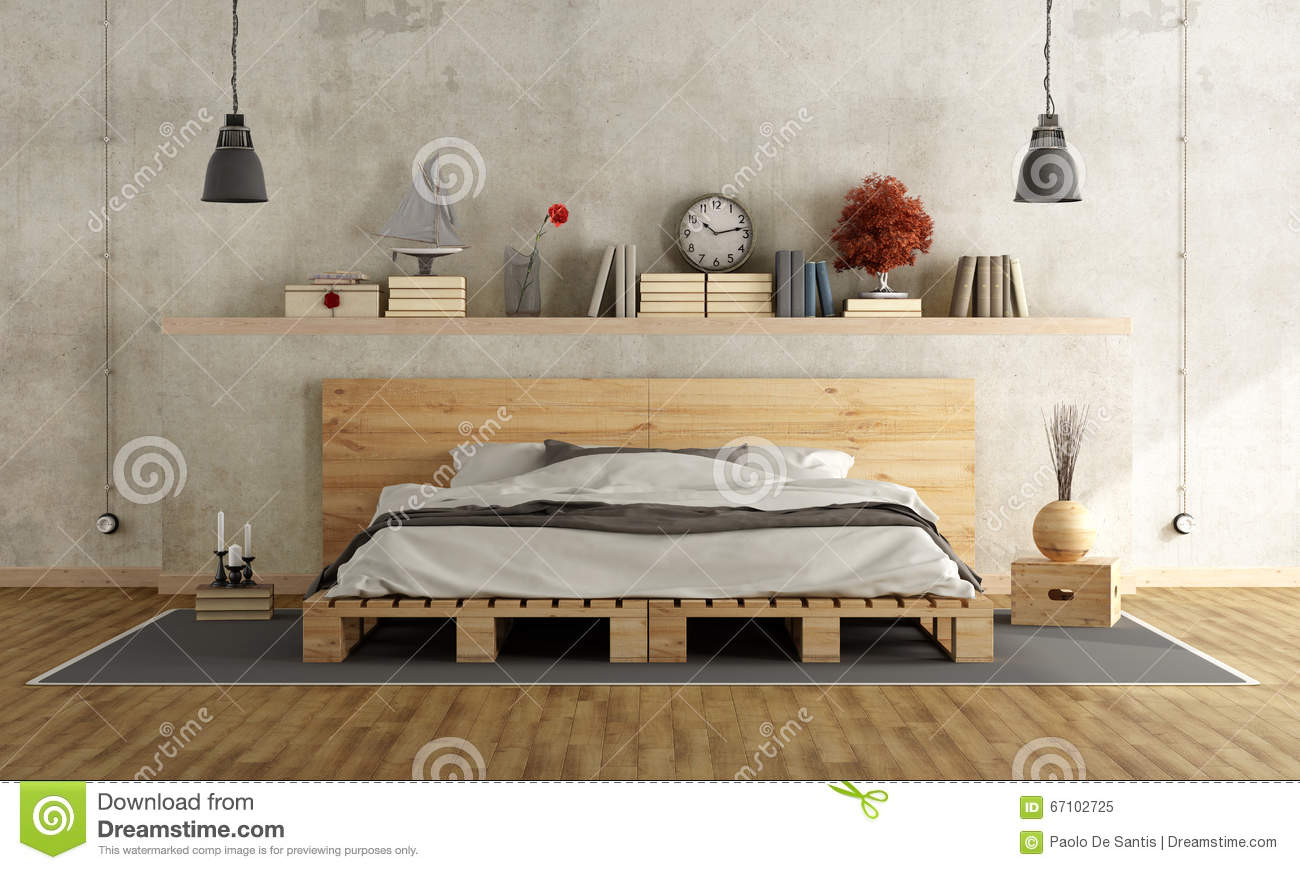 bedroom with pallet double bed stock illustration image 67102725. Black Bedroom Furniture Sets. Home Design Ideas