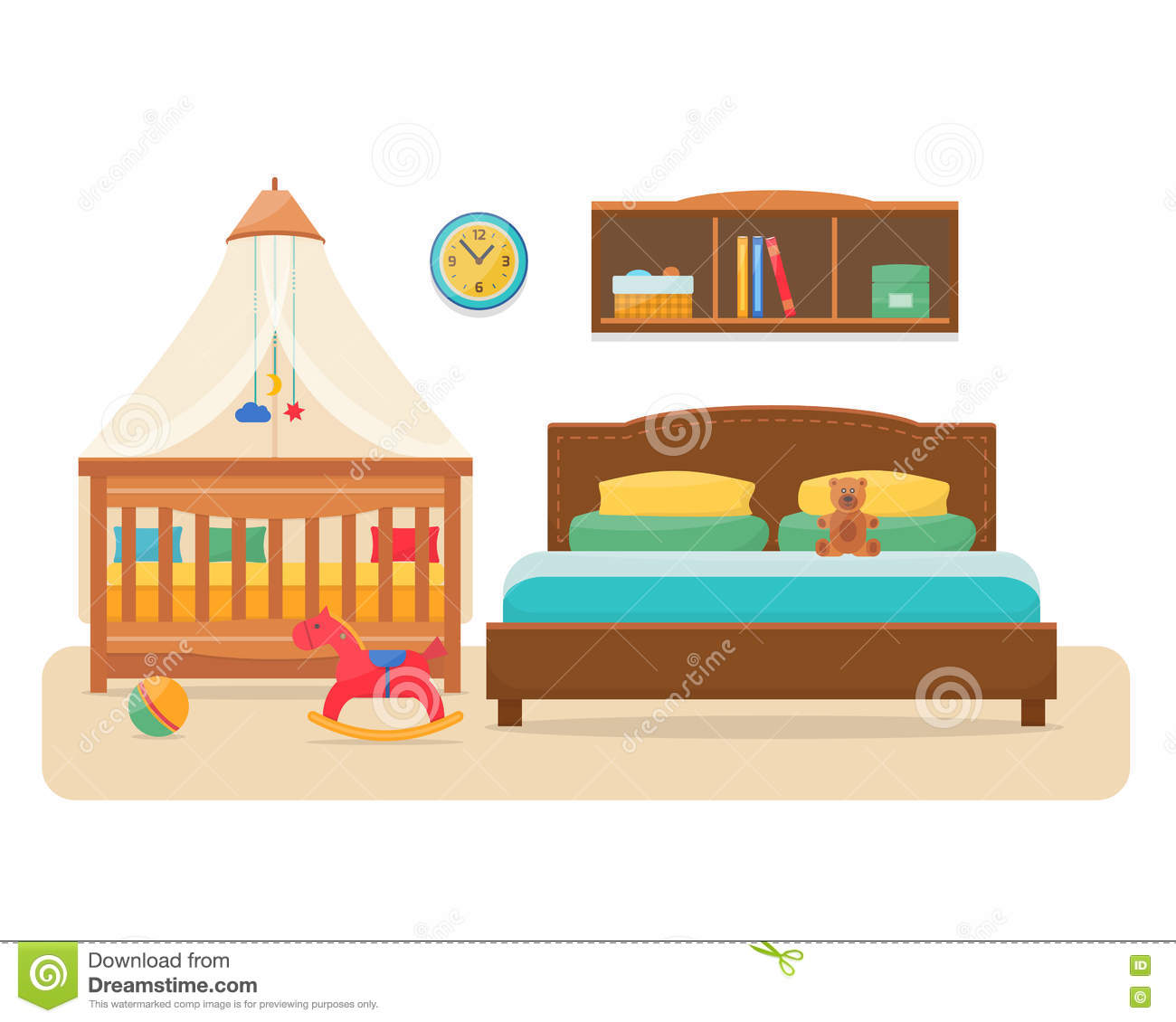 Bedroom With Parents Bed And Baby Cot Stock Vector