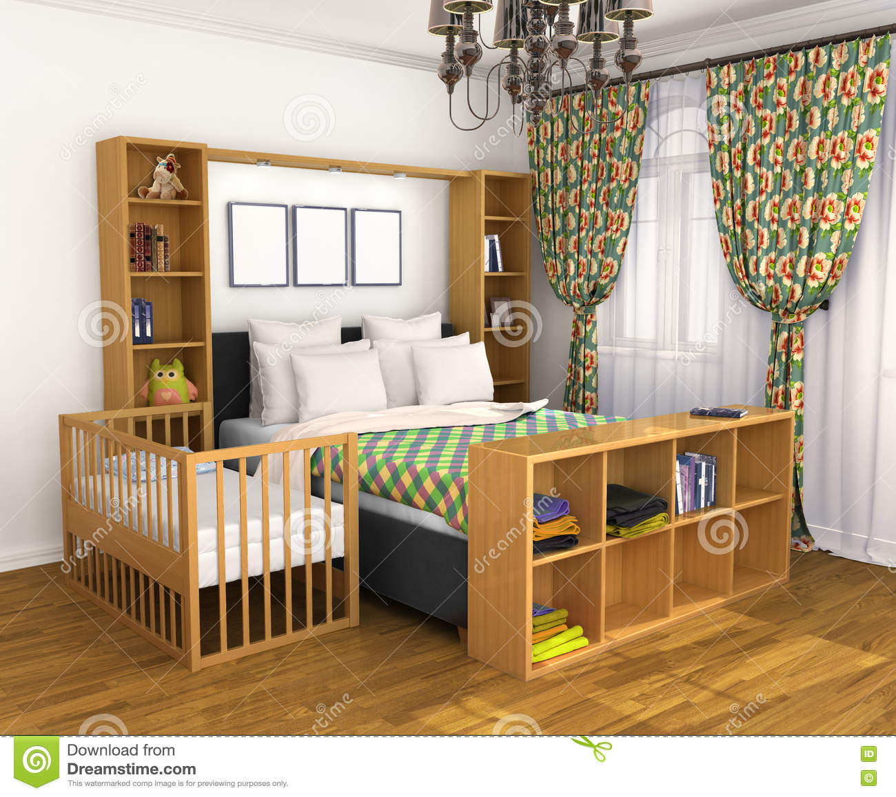 Bedroom For The Parents And The Child. Stock Illustration ...