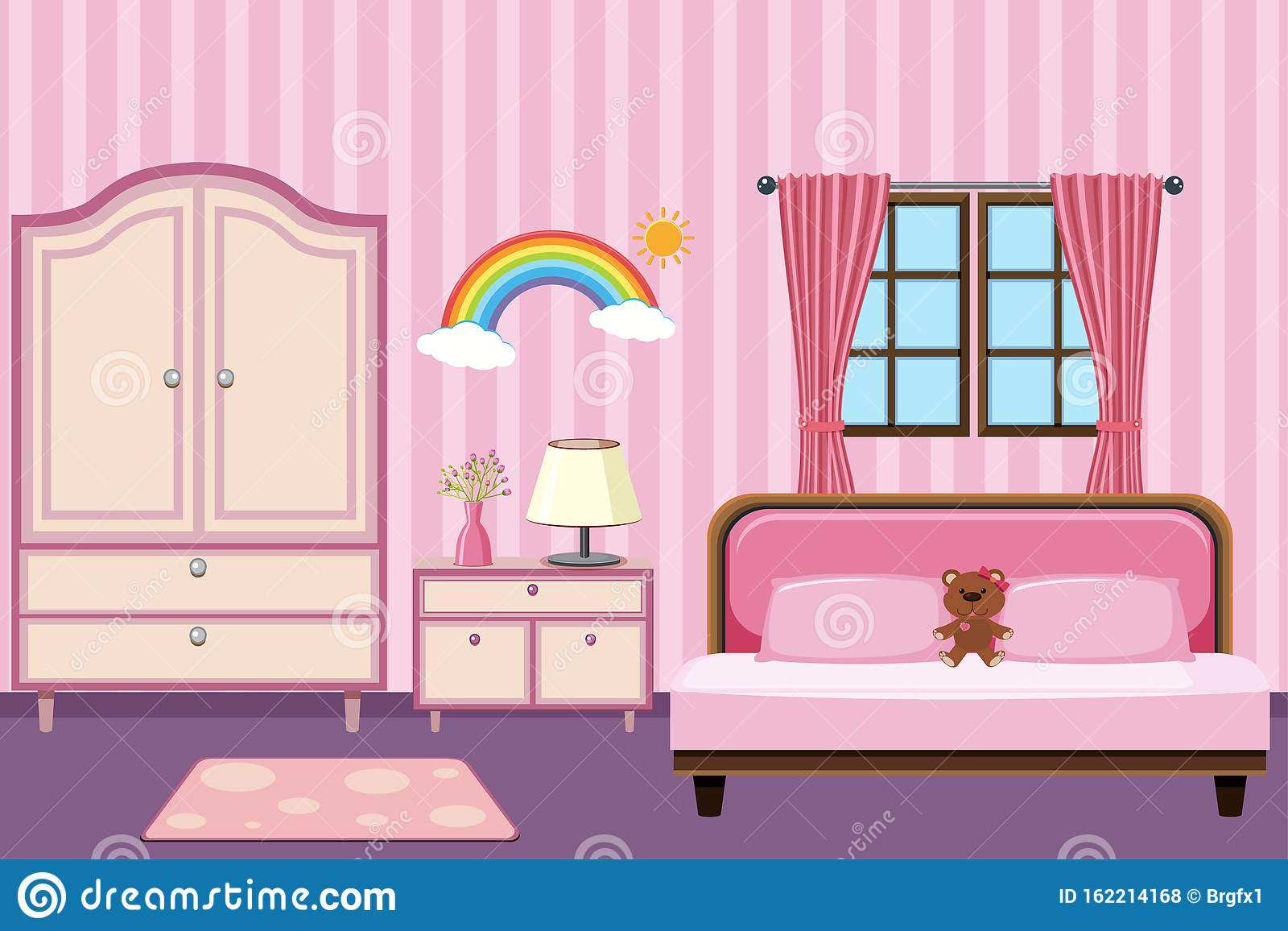 Bedroom With Pink Furniture Stock Vector Illustration Of Drawing Space 162214168