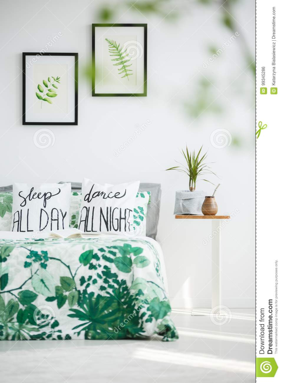 Bedroom With Plant And Bombilla Stock Photo - Image of
