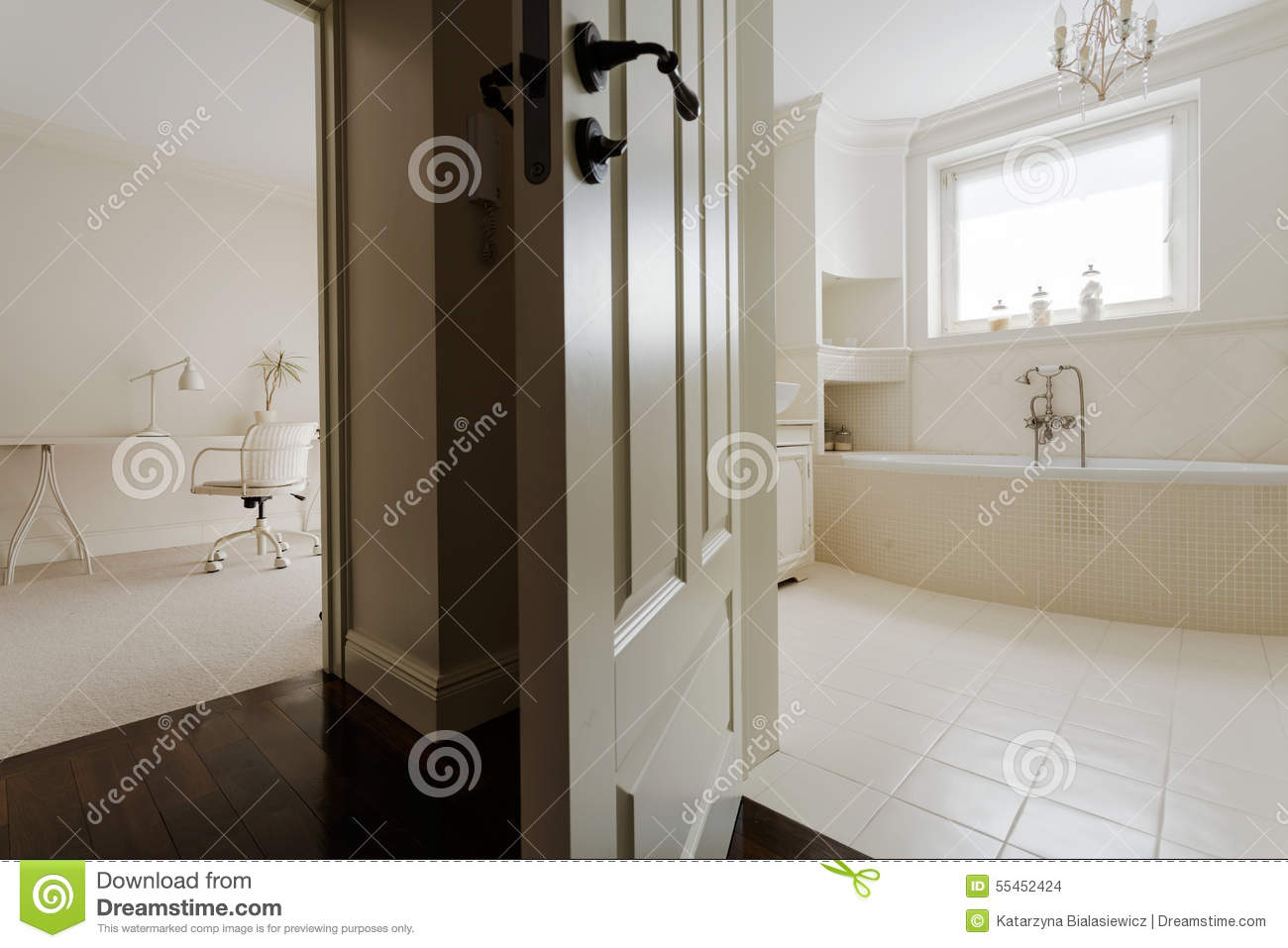 Bedroom With Private Bathroom Stock Photo Image 55452424