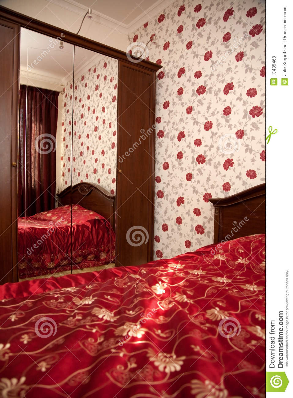 bedroom in red colors royalty free stock photos image