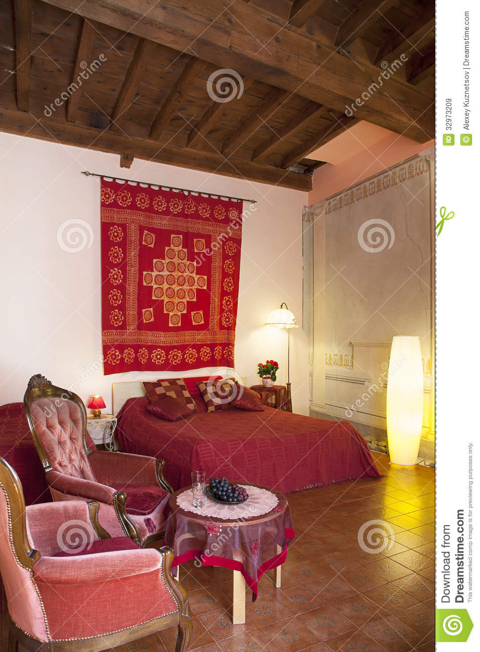 Bedroom in red colors royalty free stock images image Color hotel italy