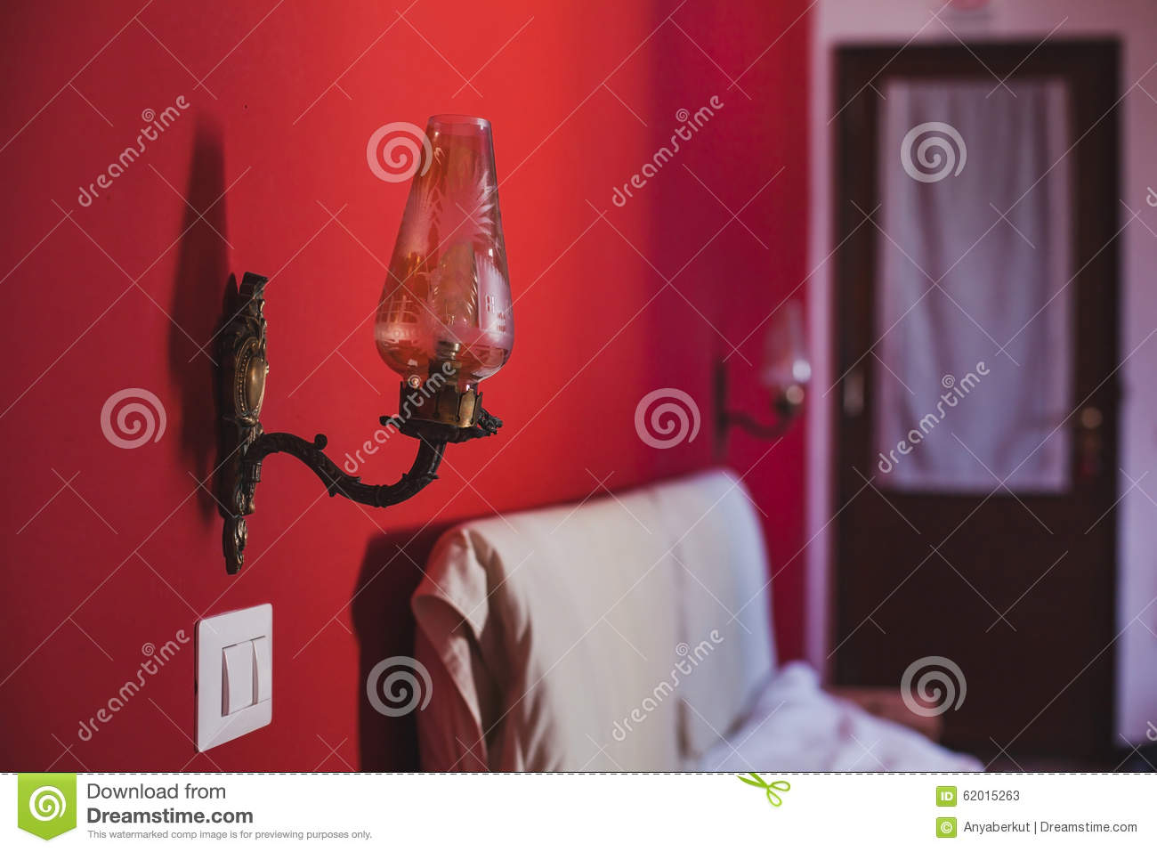 Bedroom With Red Wall Stock Photo Image 62015263