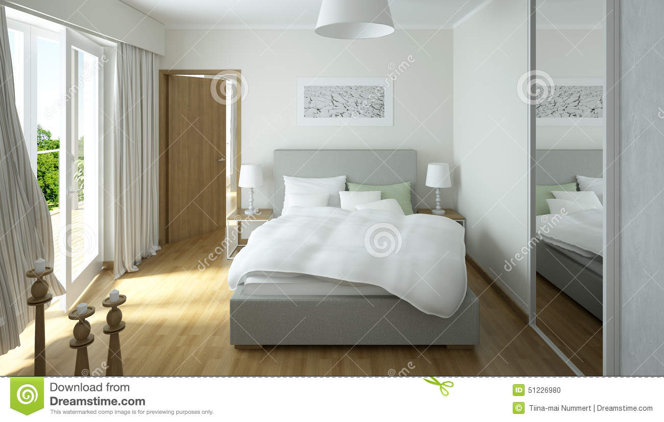 rendering of a modern light colored bedroom