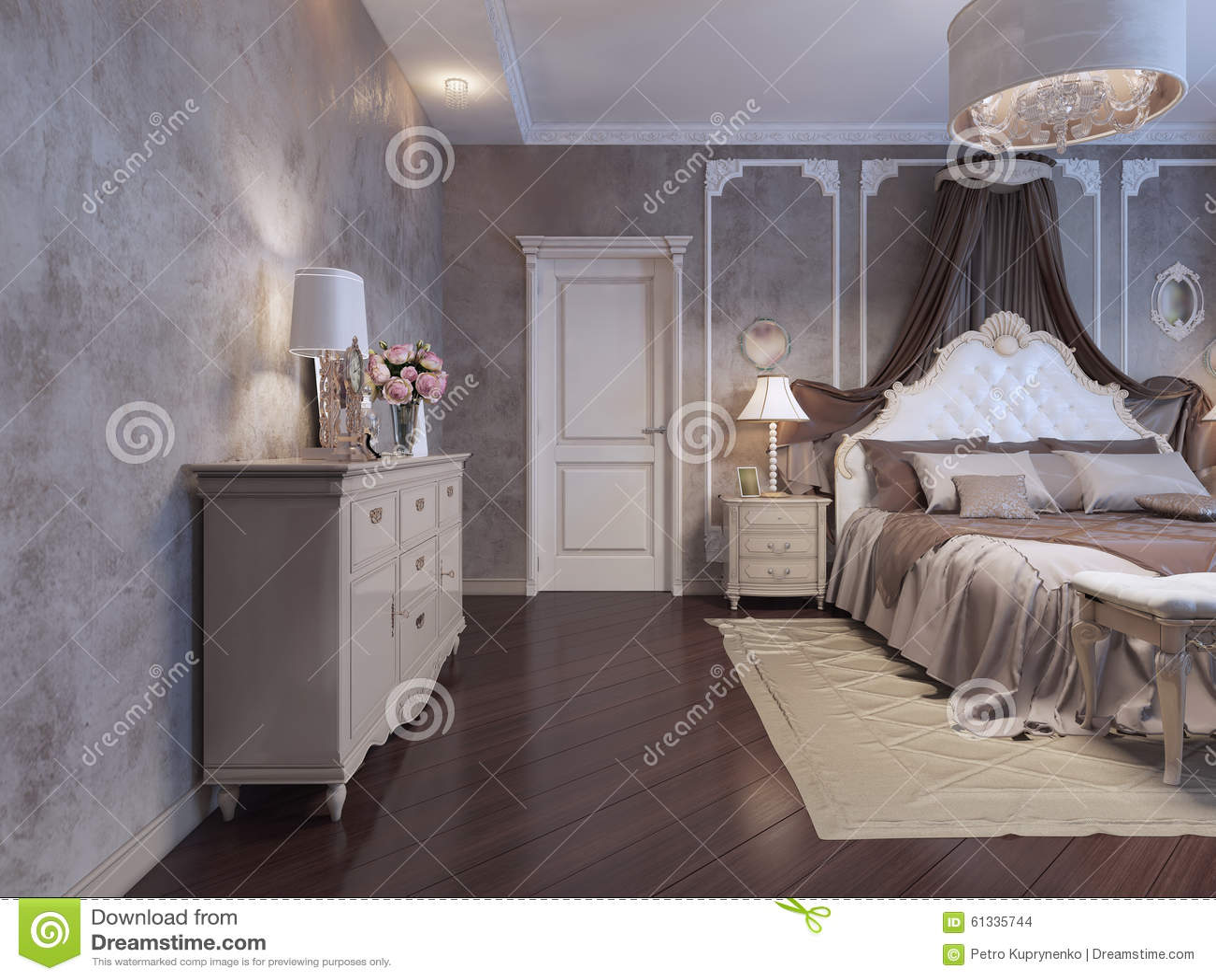 Bedroom In Rich House Stock Illustration Illustration Of Bohemian